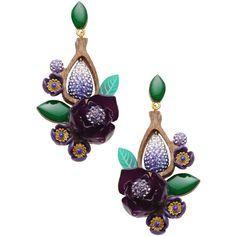 La Hormiga Earrings ($145) ❤ liked on Polyvore featuring jewelry, earrings, purple, wood jewelry, wooden earrings, wood earrings, purple earrings and purple jewelry
