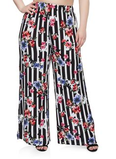 302356b5c60 Plus Size Floral Striped Palazzo Pants. Black Palazzo PantsBlack PantsPlus  Size Womens ClothingHarem ...