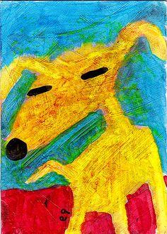 unleashed e9Art ACEO Dog Outsider Art Brut Folk Primitive Raw Naive Painting #OutsiderArt
