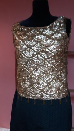 VINTAGE 1950s SEQUIN beaded top womans sparkley original Hollywood glamour gold evening dance party glitter rock n roll by VICKYSILKVINTAGE on Etsy