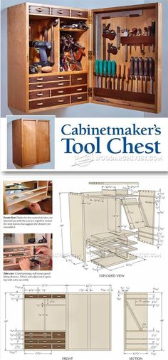 Tool Storage Cabinet Plans - Workshop Solutions Projects, Tips and Tricks | WoodArchivist.com Woodworking Tool Cabinet, Woodworking Shop, Woodworking Plans, Woodworking Projects, Workshop Storage, Workshop Organization, Tool Storage Cabinets, Muebles Art Deco, Cabinet Plans