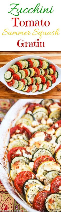 Baked Zucchini Tomato Summer Squash Goat Cheese Casserole - this elegant summer gratin is perfect for potlucks and entertaining ~ http://jeanetteshealthyliving.com