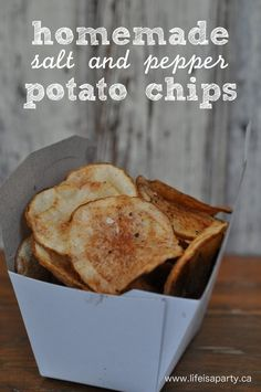 Homemade Potato Chips: Simple to make and so, so good. Love the flavour of salt and pepper, sure to wow your guests and quickly disappear.