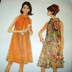 1960s Vintage Sewing Pattern  Flared Trapeze Dress by SelvedgeShop, $10.00