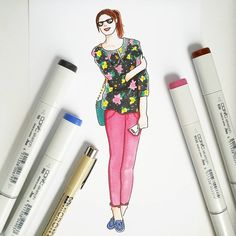 Zoo outfit spring 2017 fashion: Banana Republic floral top, stitch fix colored denim, Sperry boat shoes done with copic markers by Alexa's Illustrations. Alexasillustrations
