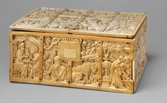 Ivory Box with Aristotle and Phyllis,   French; Paris c. 1310 - 1330. Casket with Scenes from Romance Date: ca. 1310–30, Made in Paris, France. This coffret illustrated with scenes from Arthurian and other courtly literature of the Middle Ages is one of the most imposing examples to survive.