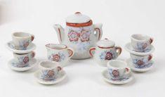 Vtg toy tea set Occupied Japan white orange blue floral complete #occupiedjapan #vintage #teaset #tea