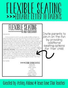 EDITABLE FREEBIE- Flexible Seating Letter to Parents