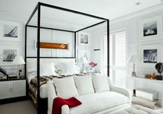 LOVE this bed.  Wish I knew where it was from.  Love the couch in front of bed