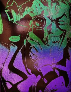 """The Joker (Killing Joke) Metal Art Batman DC Comics Spray Paint Art. An 8.5"""" x 11"""" painting created by spray painting sheet metal, then burning an image into that paint with a laser engraver. Each painting is unique."""