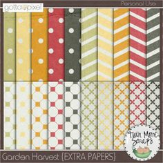 Garden Harvest Digital Scrapbook EXTRA PAPERS. $3.00 at Gotta Pixel. www.gottapixel.net/