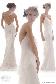 "Elizabeth Fillmore ""Tullah"" wedding gown, 4-ply silk crepe bias slip v-neck gown w/ spaghetti straps and cascading chiffon ruffles along neckline leading to back & train"