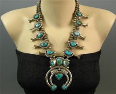 Vintage Navajo Sterling Natural Stormy Mtn Turquoise Squash Blossom Necklace | $611