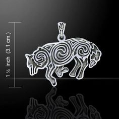 Celtic WOLF Pendant 925 Sterling Silver Norse Celtic Spirals Wolf energy amulet
