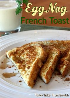 Christmas-Food idea-Egg Nog French Toast: Egg nog, bread, butter or Pam, maple syrup. Dip bread into egg nog. Fry in your pan and serve with maple syrup. What's For Breakfast, Christmas Breakfast, Breakfast Dishes, Breakfast Recipes, Christmas Morning, Christmas Brunch, Breakfast Cookies, Morning Breakfast, Brunch Recipes