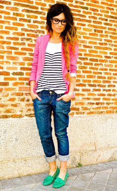 Pink Blazer, Striped Shirt, Boyfriend Jeans & Green Shoes - all about Layering Mode Style, Style Me, Shoes Style, Look Fashion, Womens Fashion, Jeans Fashion, Fashion Shoes, Girl Fashion, Komplette Outfits
