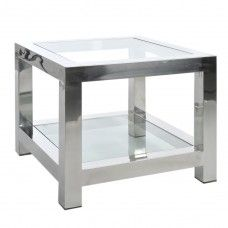 "Stolik ""Steel"", 60 x 60 x 50 cm Glass Side Tables, End Tables, Geometric Furniture, Home Coffee Tables, Corner Table, Work Surface, Home Living, Orlando, Shelving"