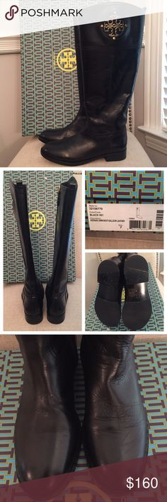 Tory Burch Kiernan Black Riding Boots Gold Logo 7 The Kiernan style is one of my favorites from Tory Burch - inset gold logo on each calf, smooth inner zipper, super comfortable. This pair is black with gold hardware, original box included. Worn only once, you can tell from the soles they are nearly new! The only flaw to note is that the left boot has a bit of wrinkling above the foot - I took a photo so you can see the difference clearly. Of course after a couple wears any boots will get…