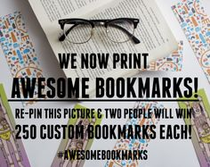 RE-PIN CONTEST! We have just launched bookmarks on our website. Re-pin this picture and you could win 250 x custom printed bookmarks!  FULL INFO: http://awsmr.ch/BookmarkComp  Good luck!