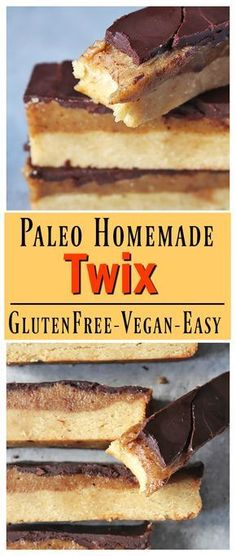 Paleo Homemade Twix Bars- all the delicious layers of the popular candy, but made with wholesome ingredients. Vegan, gluten free, and dairy free.