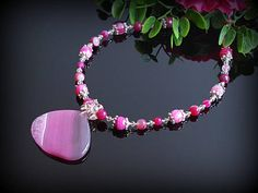 Pink agate statement necklace with cluster pendant Gift for women jewelry Magenta crystal cluster Fuchsia gemstone Healing natural stone