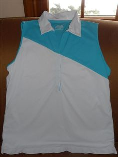 Sold - Slazenger Womens Golf Polo Shirt ~ Size Large White Turquoise Sleeveless #Slazenger #PoloShirt