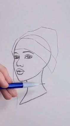 Girl Drawing Sketches, Art Drawings Sketches Simple, Pencil Art Drawings, Cool Simple Drawings, Face Sketch, Colorful Drawings, Drawing Art, Art Drawings Beautiful, Diy Canvas Art