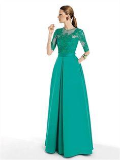 Green Lace Satin 2014 Prom Dresses