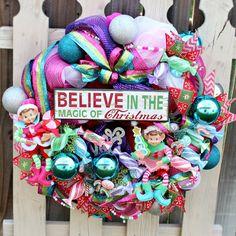 Deco Mesh Christmas Wreath - Elf wreath - Whimsical wreaths