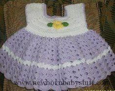 Crochet Baby Dress Crocheted Baby Dress ~ sizes 3-6 mos, 6-9 mos & 9-12 mos... Check more at https://www.newbornbabystuff.com/crochet-baby-dress-crocheted-baby-dress-sizes-3-6-mos-6-9-mos-9-12-mos/