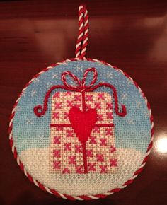 Present Needlepoint Christmas Ornament by Kirk & Bradley