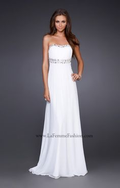 This LaFemme dress screams elegance and class!  Wear this Poly Chiffon gown in Aqua, Light Pink or White! The long lean lines of this dress will show off any killer figure! The neckline is embellished with gorgeous rhinestones and beading for that sparkle effect that we absolutely love! The waist is accentuated with rhinestones at beading as well. Pair this gown with sparkling jewelry for a put together look this yer at Prom!