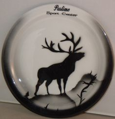 Pastime Sport Center's airbrushed plate with elk, Jackson China
