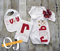 Personalized Baby Girl Gift Set Newborn Gift Set by ojdesign
