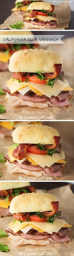 Ultimate California Club Sandwich! A toasted ciabatta roll with roasted chicken, ham, roast beef, bacon, Swiss & cheddar cheese, guacamole, tomato, and lettuce.