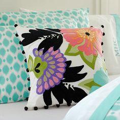 Tropical Garden Crewel Pillow Cover #potterybarnteen