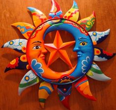 Metal Talavera Style Mexican Sun Moons & Star Cantina Restaurant Decor