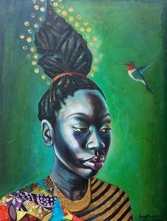 green - woman with bird - painting - Tamara Natalie Madden African American Artwork, African Artwork, Dorm Art, Black Love Art, Black Artwork, Portraits, Black Artists, Female Art, Goddesses