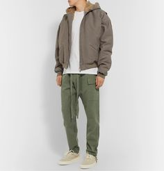 Fear Of God Belted Pleated Cotton-twill Cargo Trousers In Green Cargo Pants, Movie Stars, Work Wear, Military Jacket, Bomber Jacket, Trousers, Mens Fashion, God, Cotton