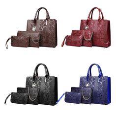Luxury Embossed Patent Crocodile Grain 3 Piece Shoulder Bag Sets for Women Crocodile, 3 Piece, Grains, Shoulder Bag, Luxury, Red, Blue, Crocodiles, Shoulder Bags