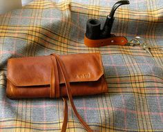 Leather Pipe & Tobacco Pouch in British Tan and Grey Flannel -- Sorringowl Signature version via Etsy.