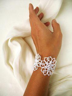 Beautiful white wedding jewelry Dainty tatting lace bracelet for woman Elegant cuff bracelet for bride Bridal shower gift Perfect gift idea