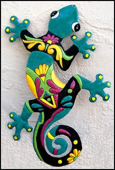 """24"""" Gecko Outdoor Wall Hanging - Hand Painted - Haitian Recycled Steel Drum Metal Art - by TropicAccents, $39.95"""