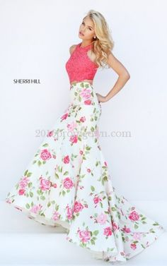 Sherri Hill 50465 Two Piece Coral Lace Floral Printed Prom Dress