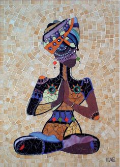 """indiattitude  Added by estelle apparu.  This mosaic was made for muriel Ligerot's book""""102 dessins interprétés en mosaique""""  I took a real delight to realize it...  I made it with enamels,glass,gold,grès,beads."""