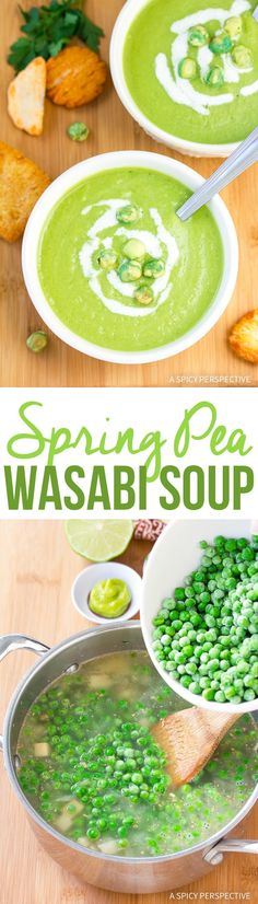 Spring Pea Wasabi Soup Recipe - A brilliant cup of fresh spring greens to delight your eyes and your palate. Plus, it's gluten free, dairy, free and vegan! via @spicyperspectiv