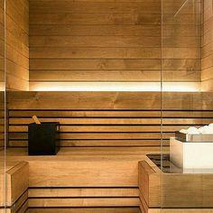 Sauna, likes the lighting and subtle feeling of interior Sauna Steam Room, Sauna Room, Spa Interior, Interior Lighting, Mini Sauna, Modern Saunas, Sauna Lights, Deco Spa, Sauna Wellness