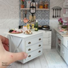 Cottage style miniatures, dollhouse furniture and accessories with a trendy twist Once you start restyling a dollhouse, then it's very possible that you've gained a new Miniature Dollhouse Furniture, Miniature Kitchen, Miniature Crafts, Miniature Houses, Miniature Dolls, Dollhouse Design, Modern Dollhouse, Diy Dollhouse, Dollhouse Miniatures