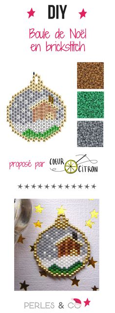 Une boule de noël tissée en perles Miyuki Delicas 11/0 avec la technique du brick stitch. Un motif proposé par Cœur Citron.