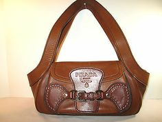 Prada Vintage RARE Brown Leather Shoulder Bag Satchel w Hand Tooling Free SHIP | eBay